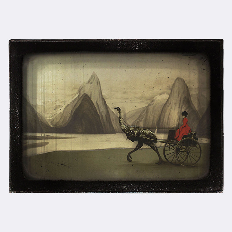 A diorama of a woman in a carriage being pulled by a moa in a NZ Landscape
