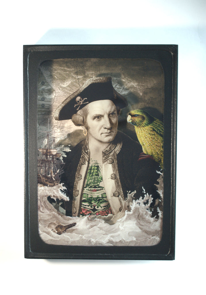 A diorama depicting Captain Cook in a seascape with a native NZ bird