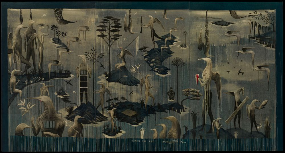 An artistic admirer of ornithology, Bill Hammond's work illustrates worlds of haunting brilliance and divine characters. Draped in dramatic, bleeding lines and muted madness, Hammond's work accommodates restless life in the brushwork of unique creativity.