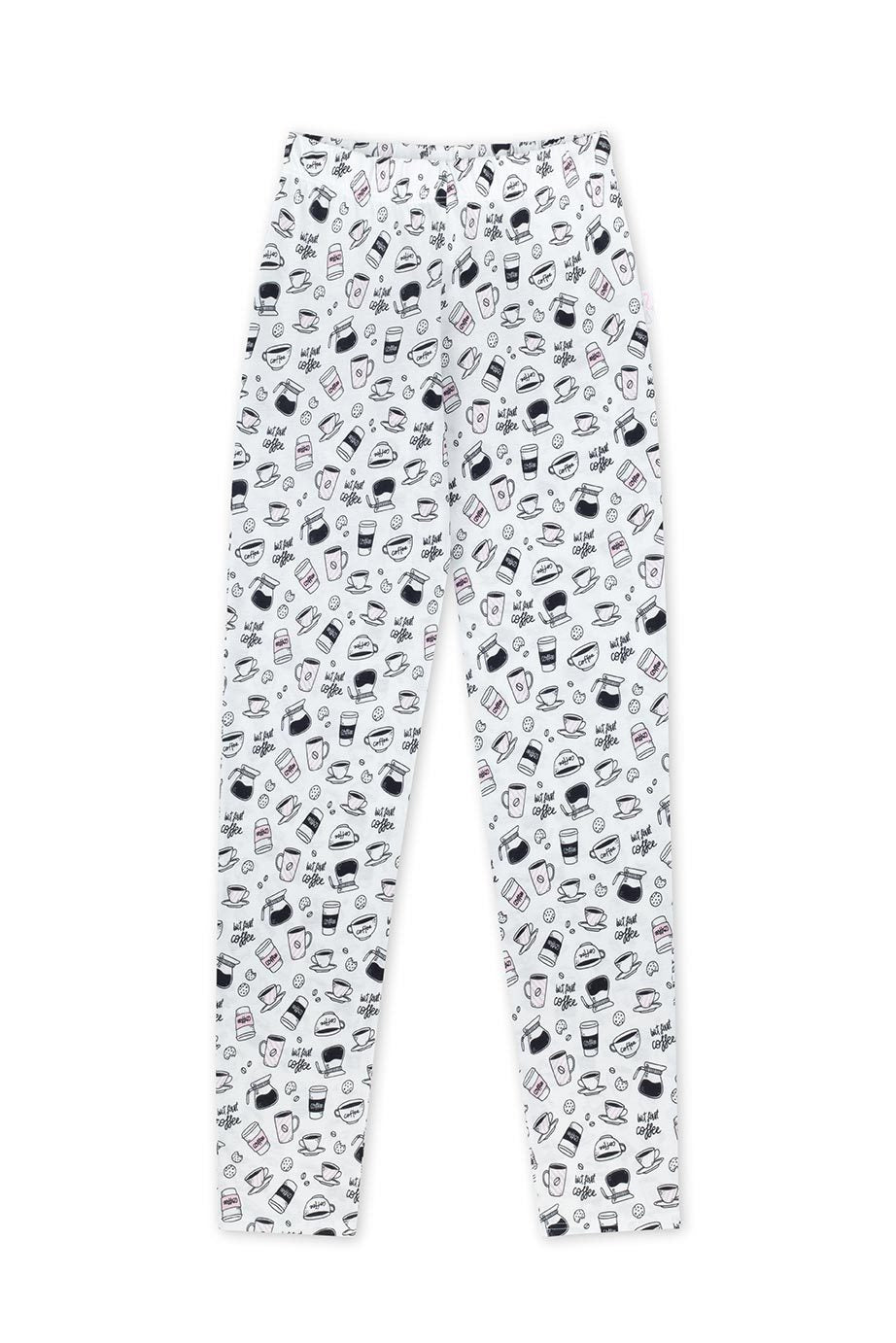 but first coffee-pyjamahose fuer damen-100 prozent baumwolle-made in eu
