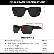 Load image into Gallery viewer, Delta - Matte Black with Smoked Polarized Lens w/ Chrome Mirror