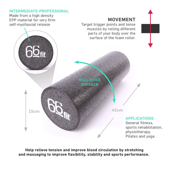 66fit EPP Massage Foam Roller - Black / EPP Schaumstoffrolle Schwarz - Hola Wellbeing