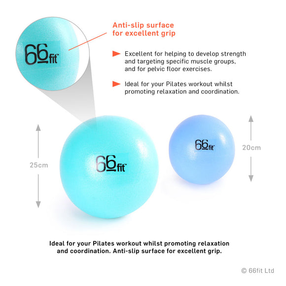 66fit Pilates Softbälle / SoftBalls -  Set of 2 - Turquoise/Blue, Size 20cm & 25cm | Hola Wellbeing