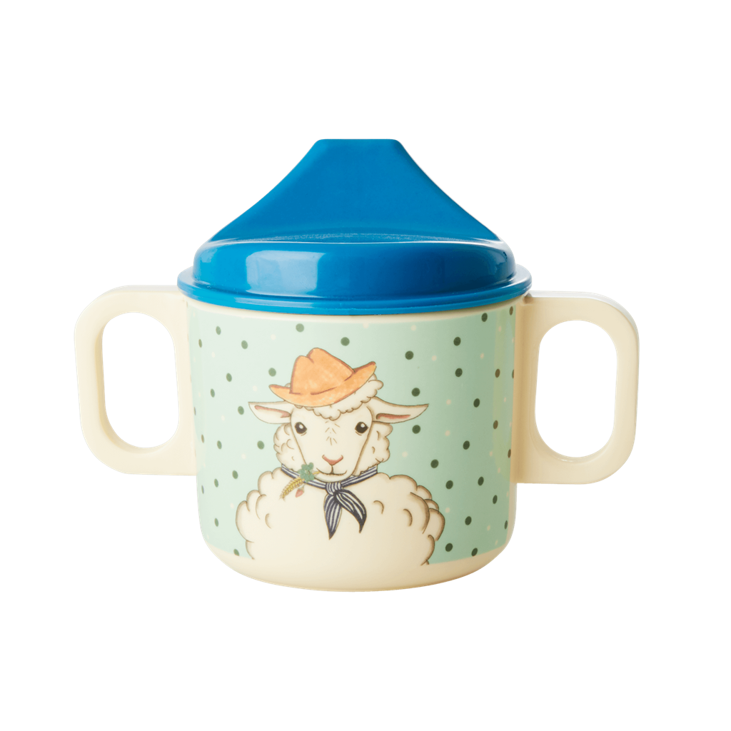 Melamine 2 Handle Baby Cup in Farm Animals Print in Green - Rice By Rice
