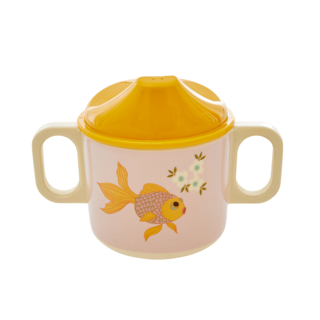 Melamine Two Handle Baby Cup in Soft Pink Goldfish Print - Rice By Rice