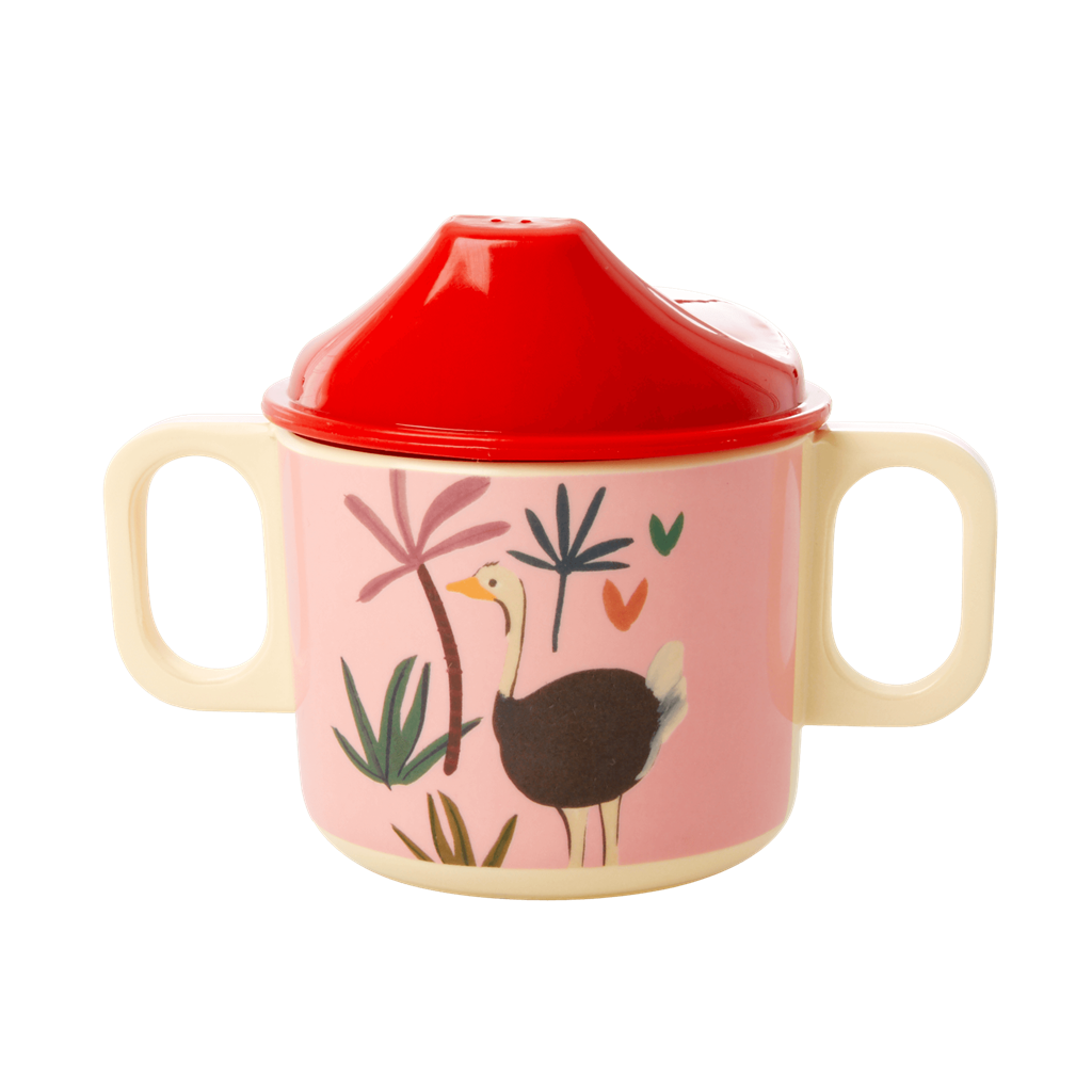 Melamine 2 Handle Baby Cup with Pink Jungle Animals