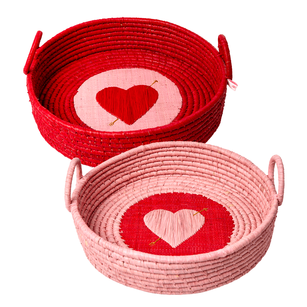 Round Raffia Bread Basket with Heart in assorted Colors - SOLD INDIVIDUALLY - Rice By Rice