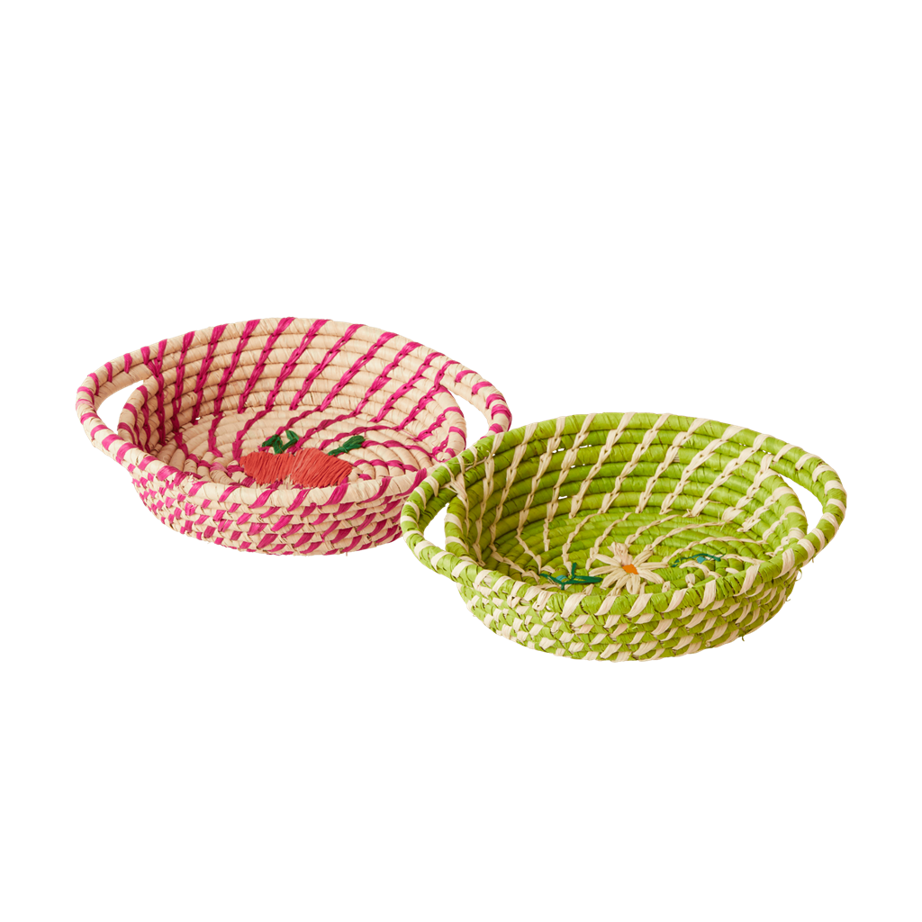 Oval Raffia Basket in 2 assorted colors - XSmall - SOLD INDIVIDUALLY - Rice By Rice