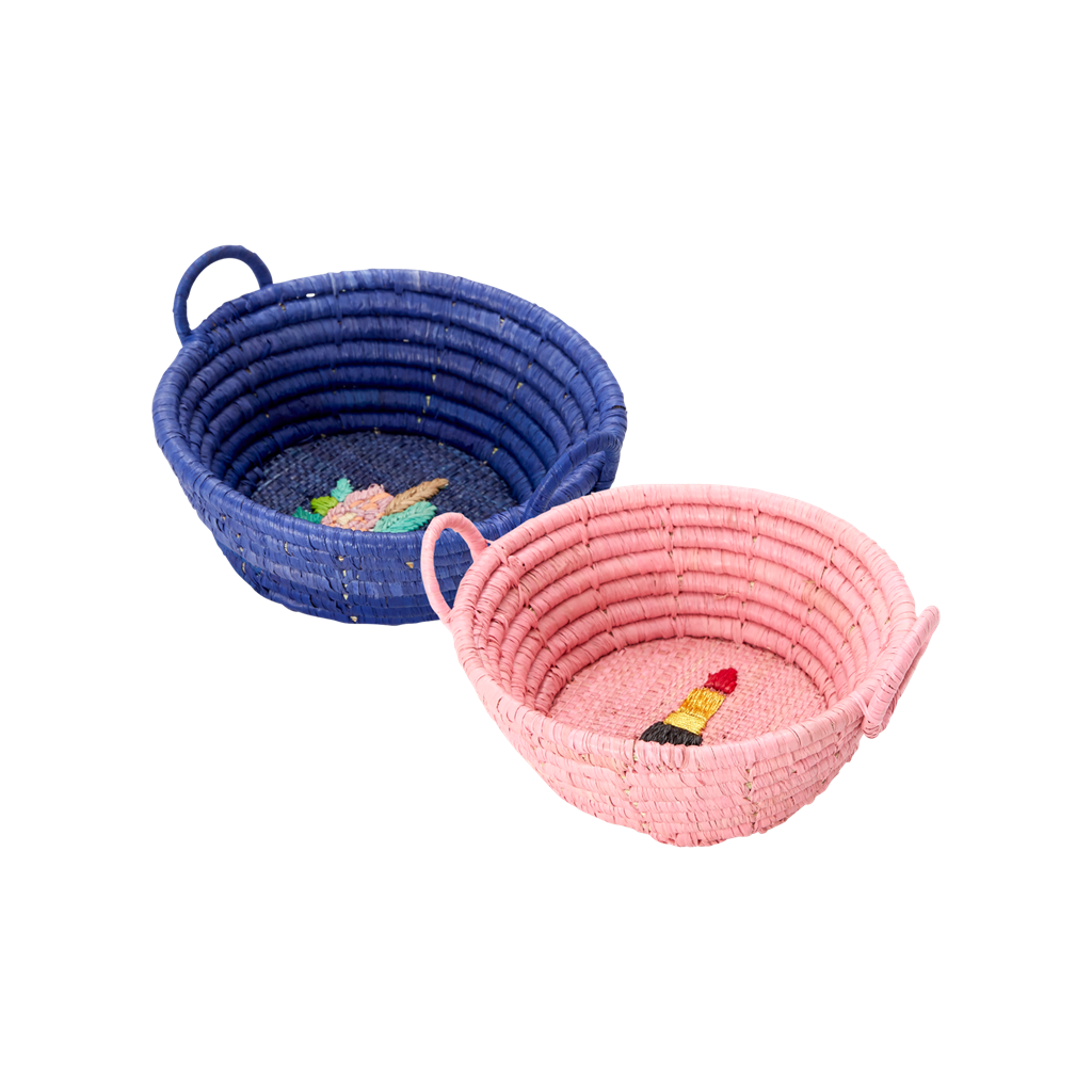 XSMALL RAFFIA BASKET IN 2 ASSORTED COLORS - SOLD INDIVIDUALLY - Rice By Rice