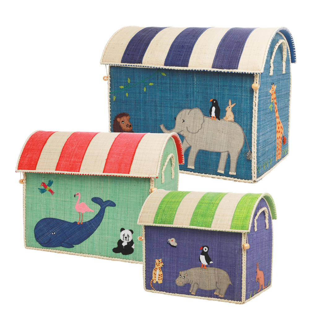 Raffia Storage Baskets Set with Animal Theme - Set of Three - SAVE - to be shipped by mid May - Rice By Rice