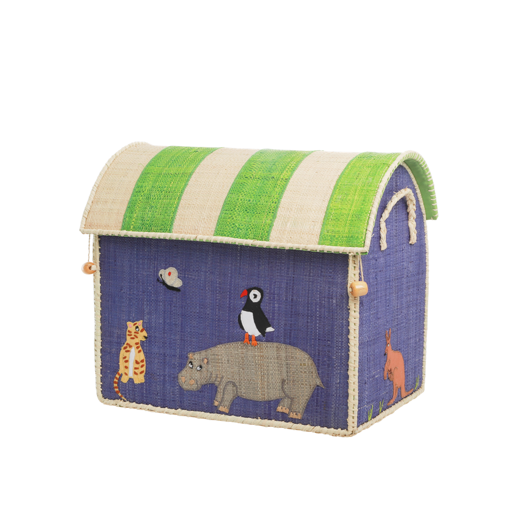 Small Raffia Toy Basket with Animal Theme - Rice By Rice