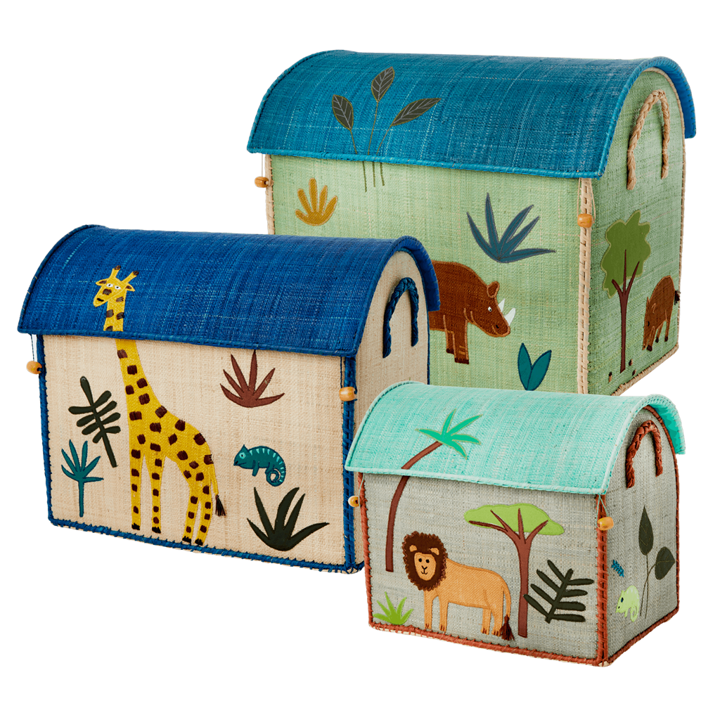 Raffia Storage Baskets with Jungle Boys Theme - Set of Three - SAVE - Rice By Rice