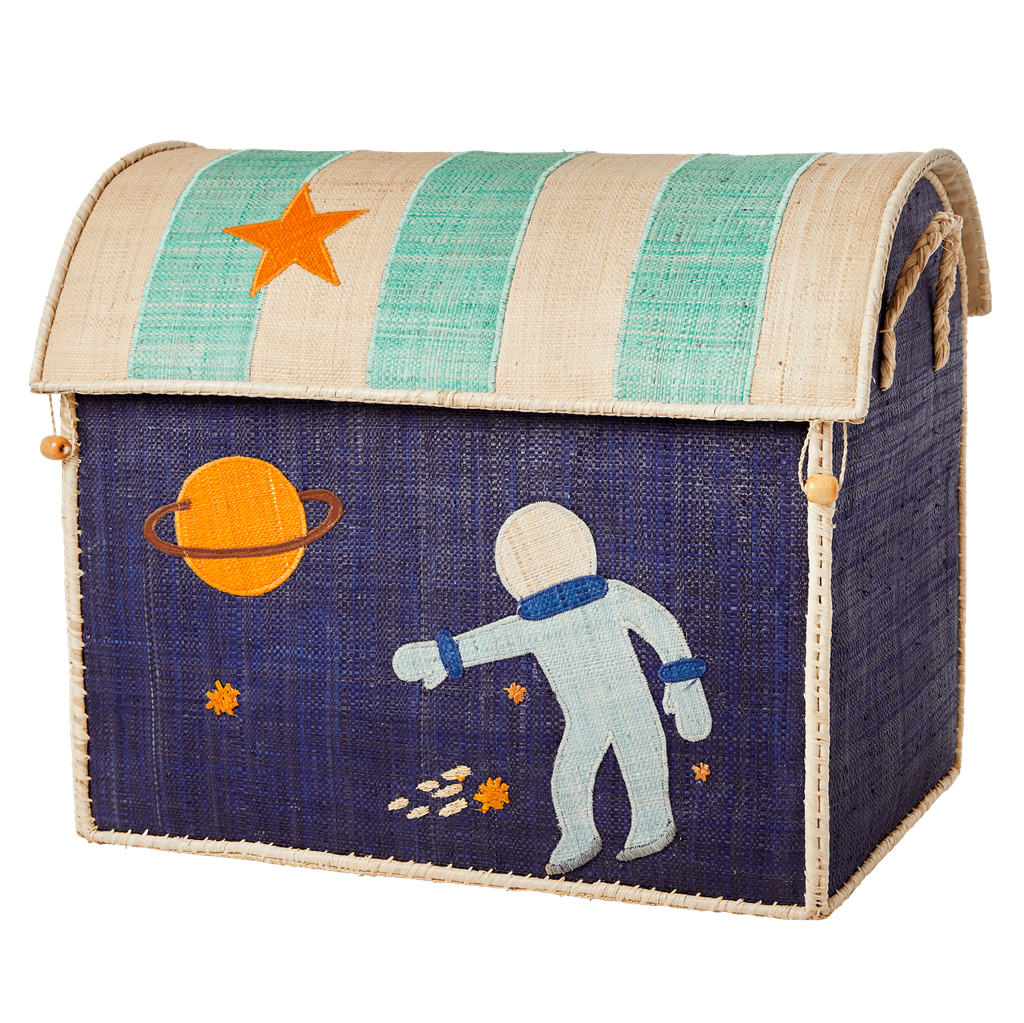 Large Raffia Toy Basket with Space Theme - to be shipped by mid February - Rice By Rice
