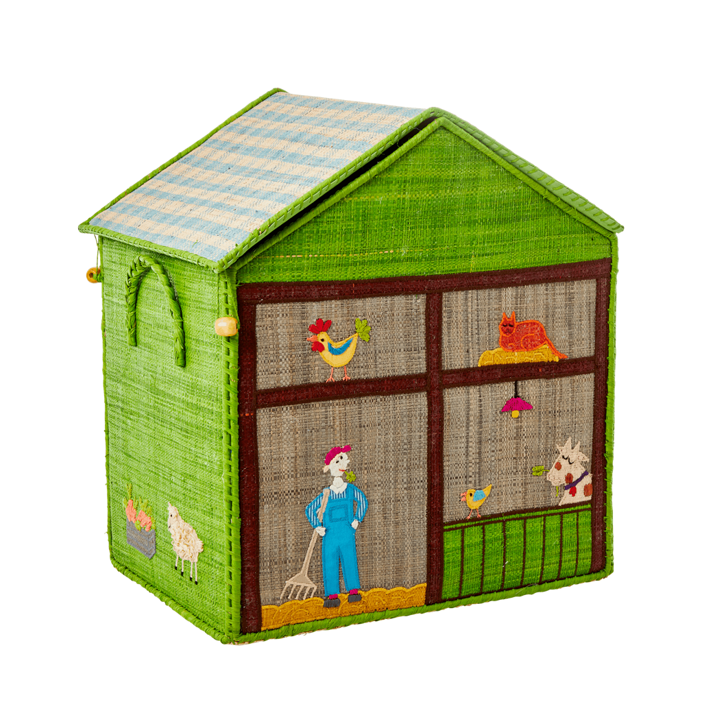 Medium Raffia Toy Basket with Farm Theme