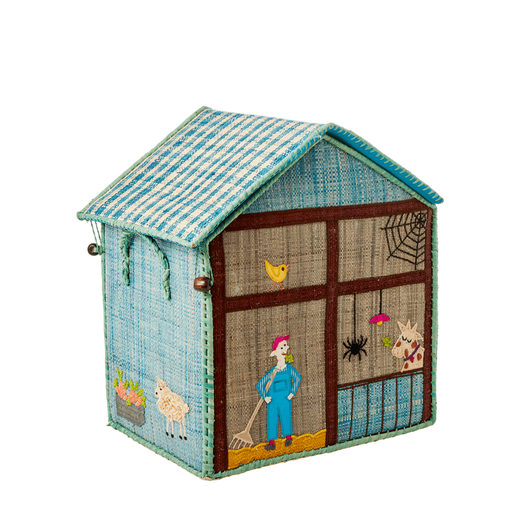Small Raffia Storage Basket with Farm Theme - Rice By Rice