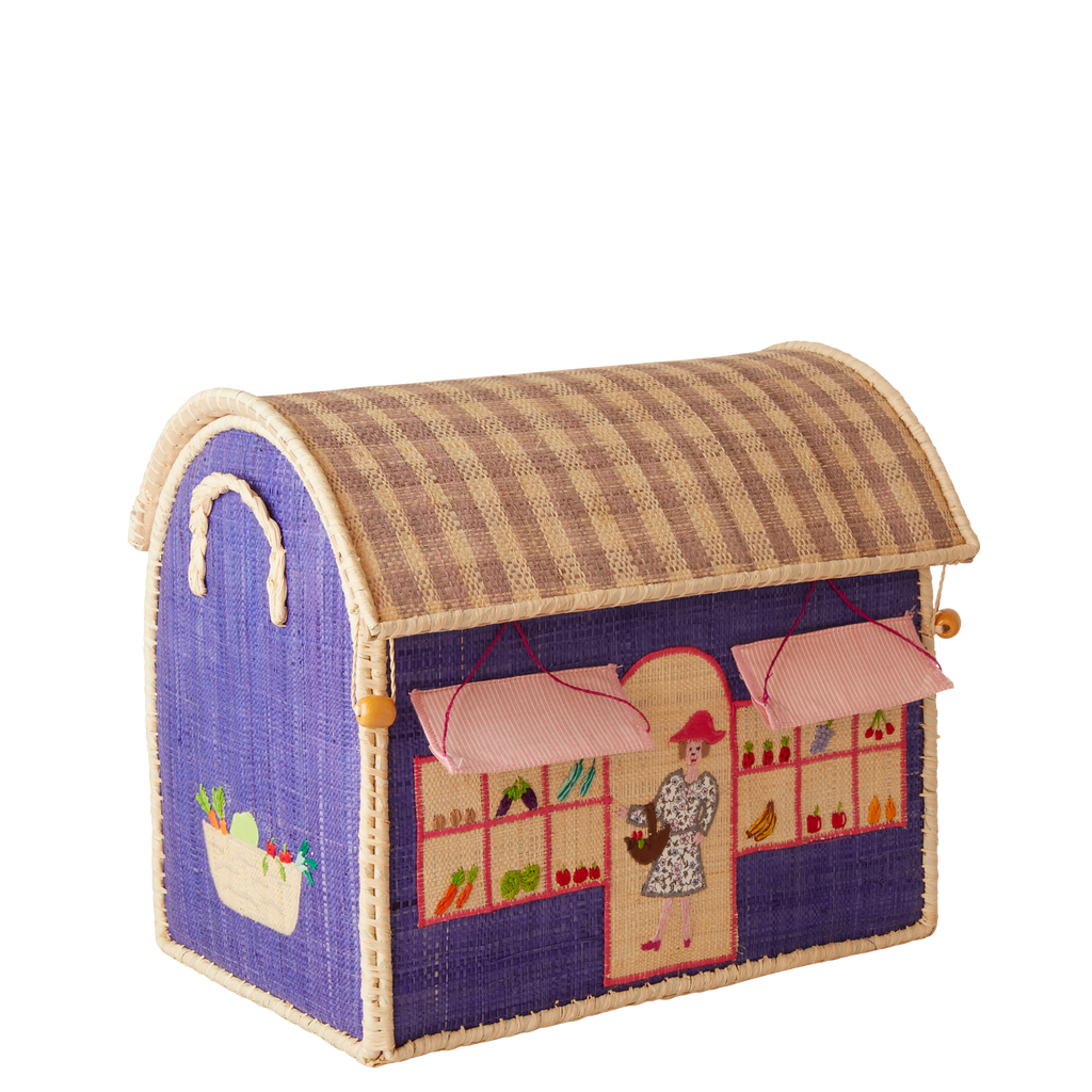 Small Raffia Toy Basket with Shops and Cafes Theme - To be shipped by Mid January - Rice By Rice