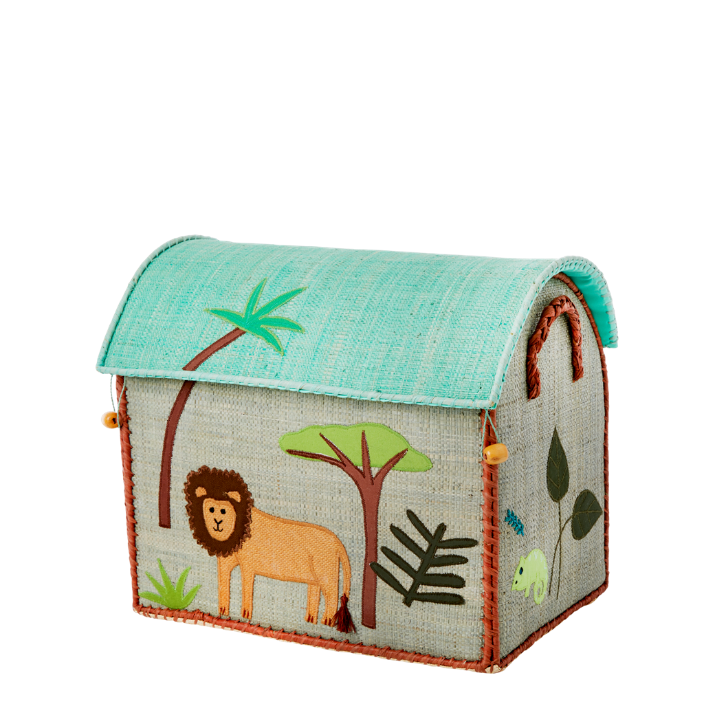 Set of Three Raffia Toy Baskets with Jungle Boys Theme - To Be Shipped By Early January - Rice By Rice