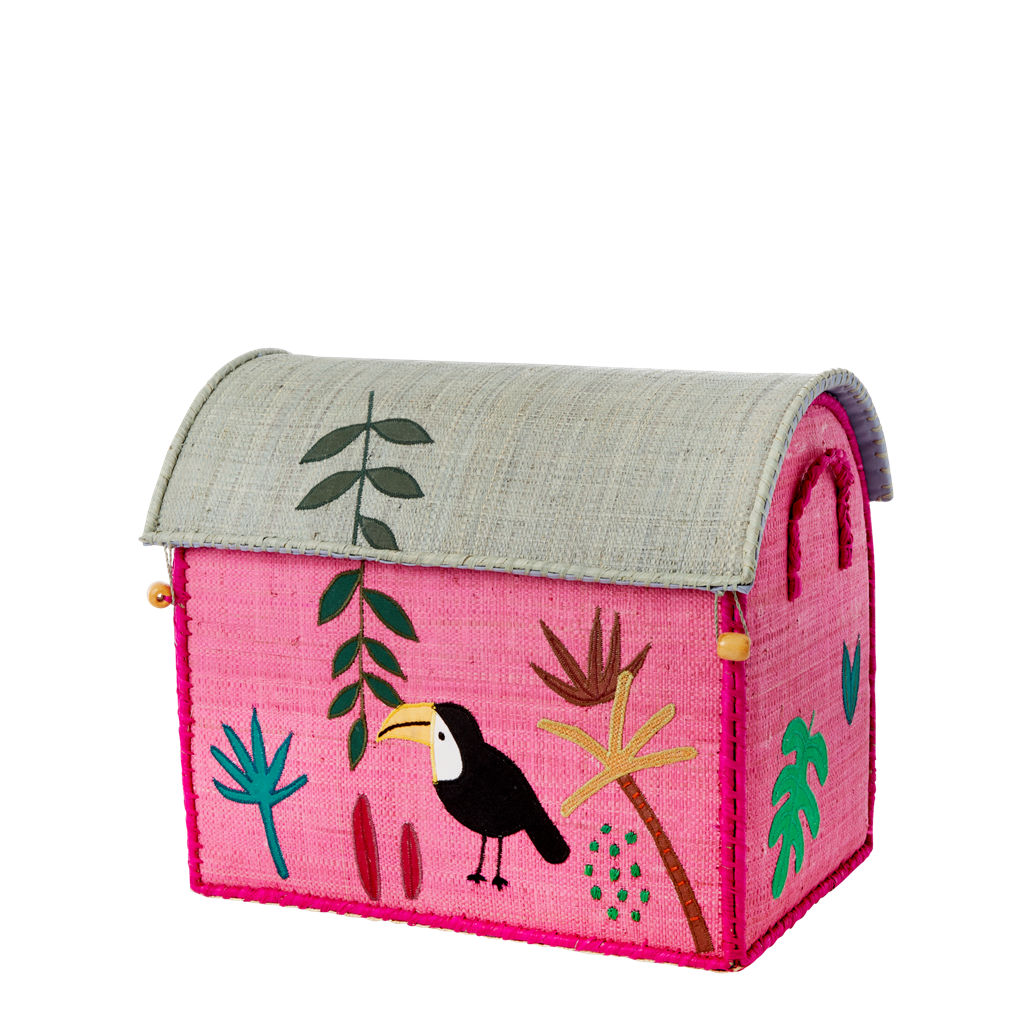 Small Raffia Storage Basket with Jungle Pink Theme - Rice By Rice