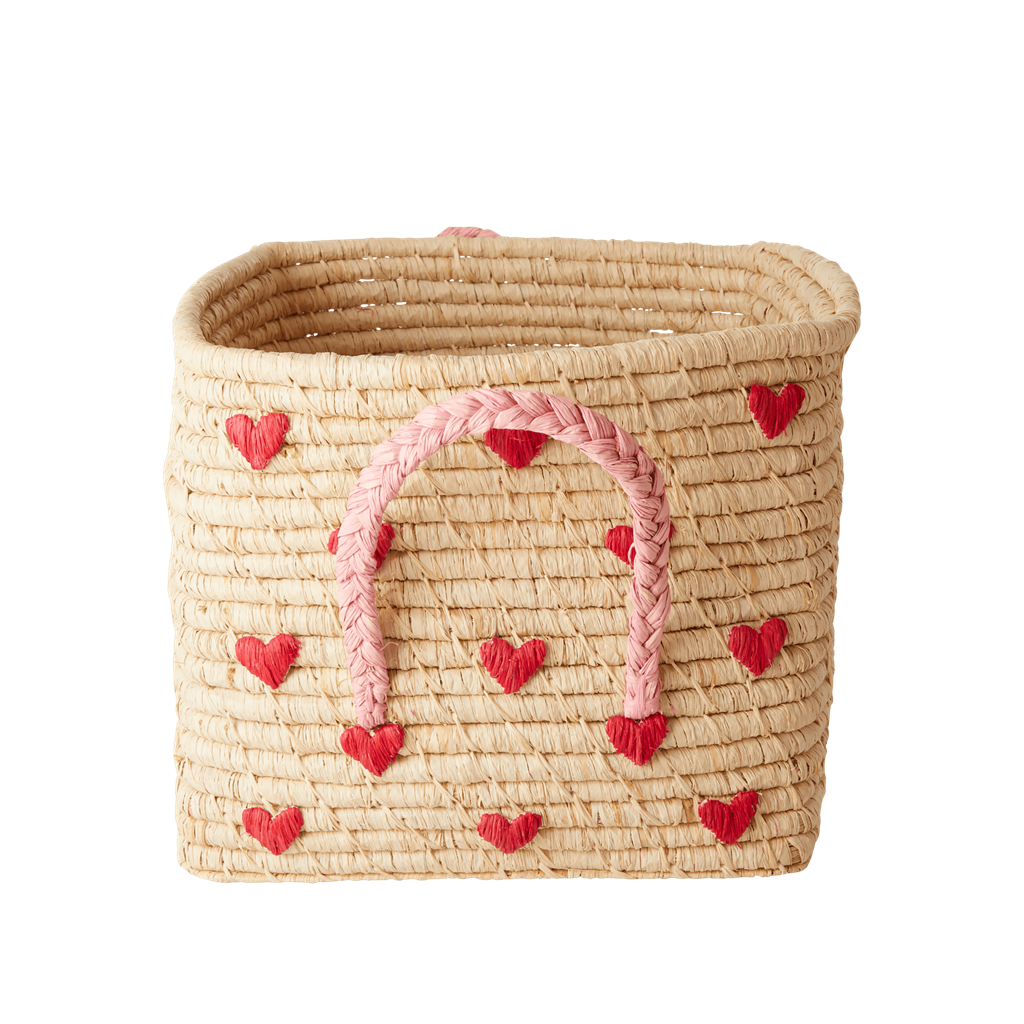 Hearts Square Raffia Basket - Natural - Choose Happy - Rice By Rice