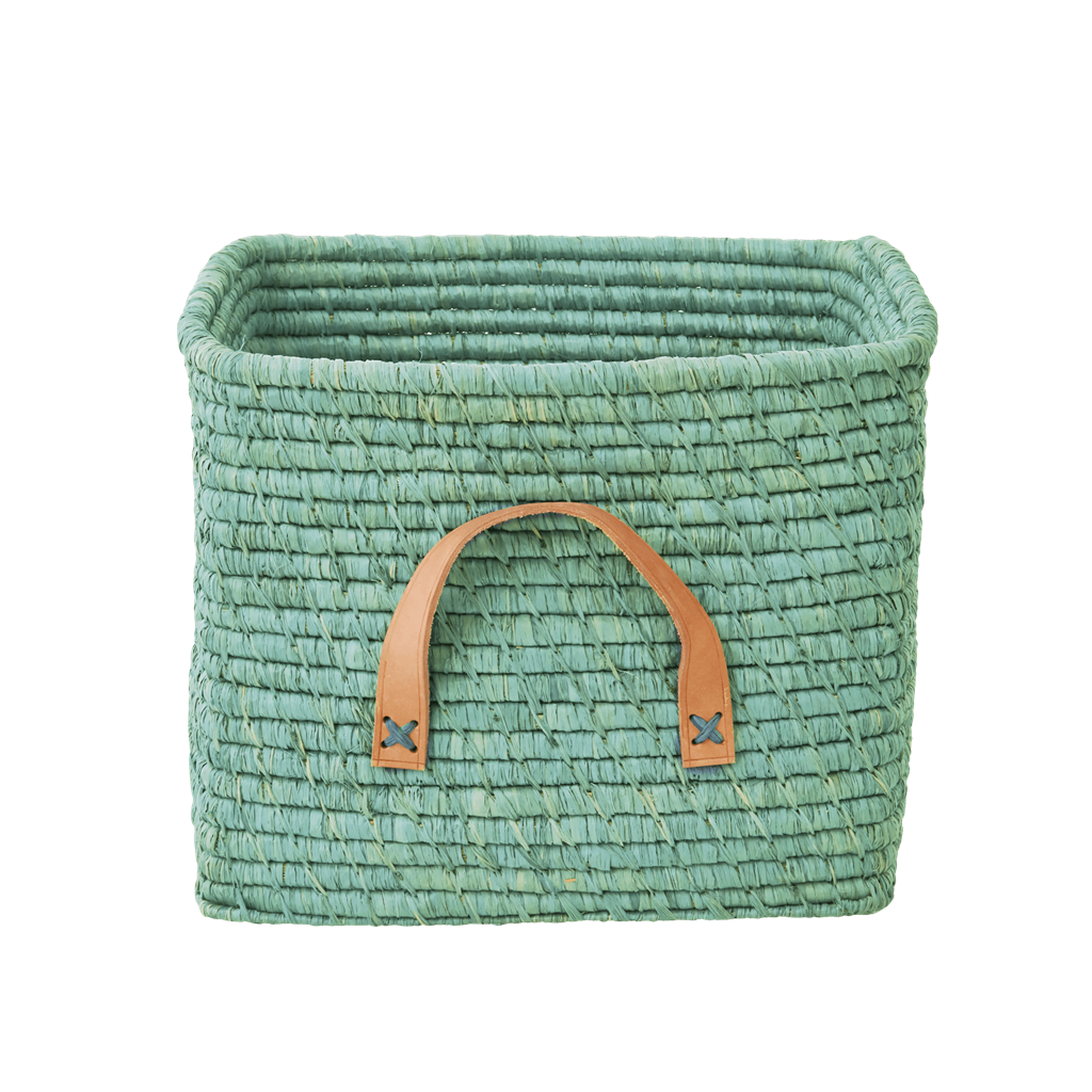 Square Raffia Basket - Mint - Rice By Rice