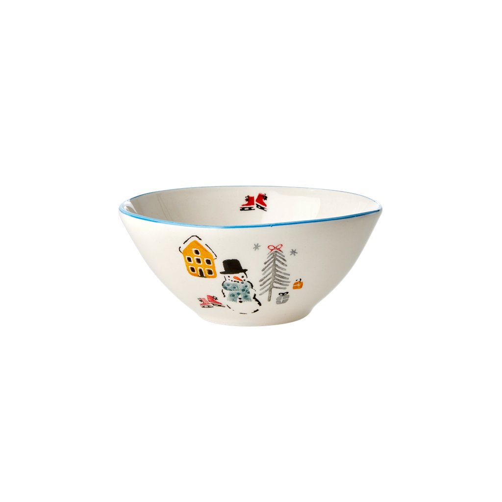 Ceramic Bowl with Snowman Print - Rice By Rice