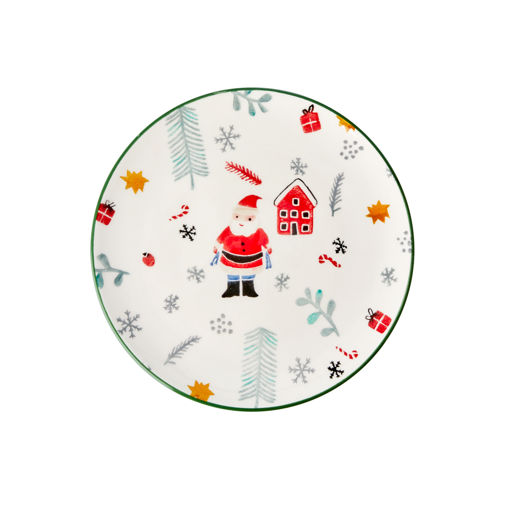 Ceramic Lunch Plate with Santa Claus Print - Rice By Rice