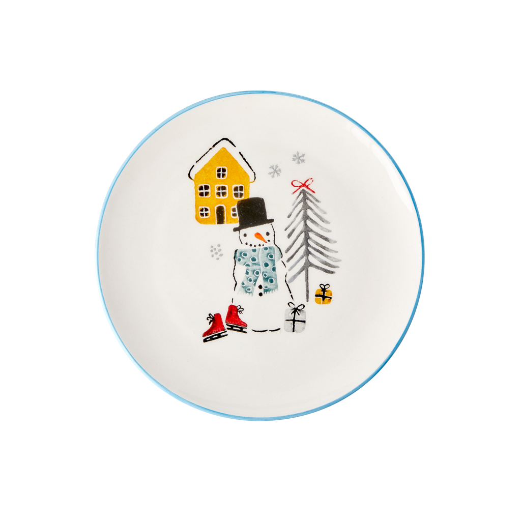 Ceramic Lunch Plate with Snowman Print - Rice By Rice
