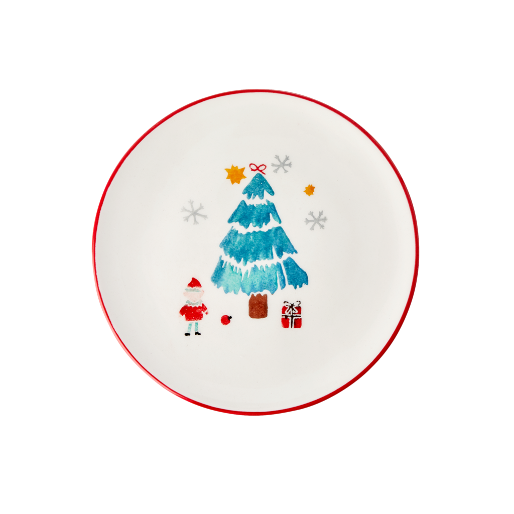 Ceramic Lunch Plate with Christmas Tree Print - Rice By Rice