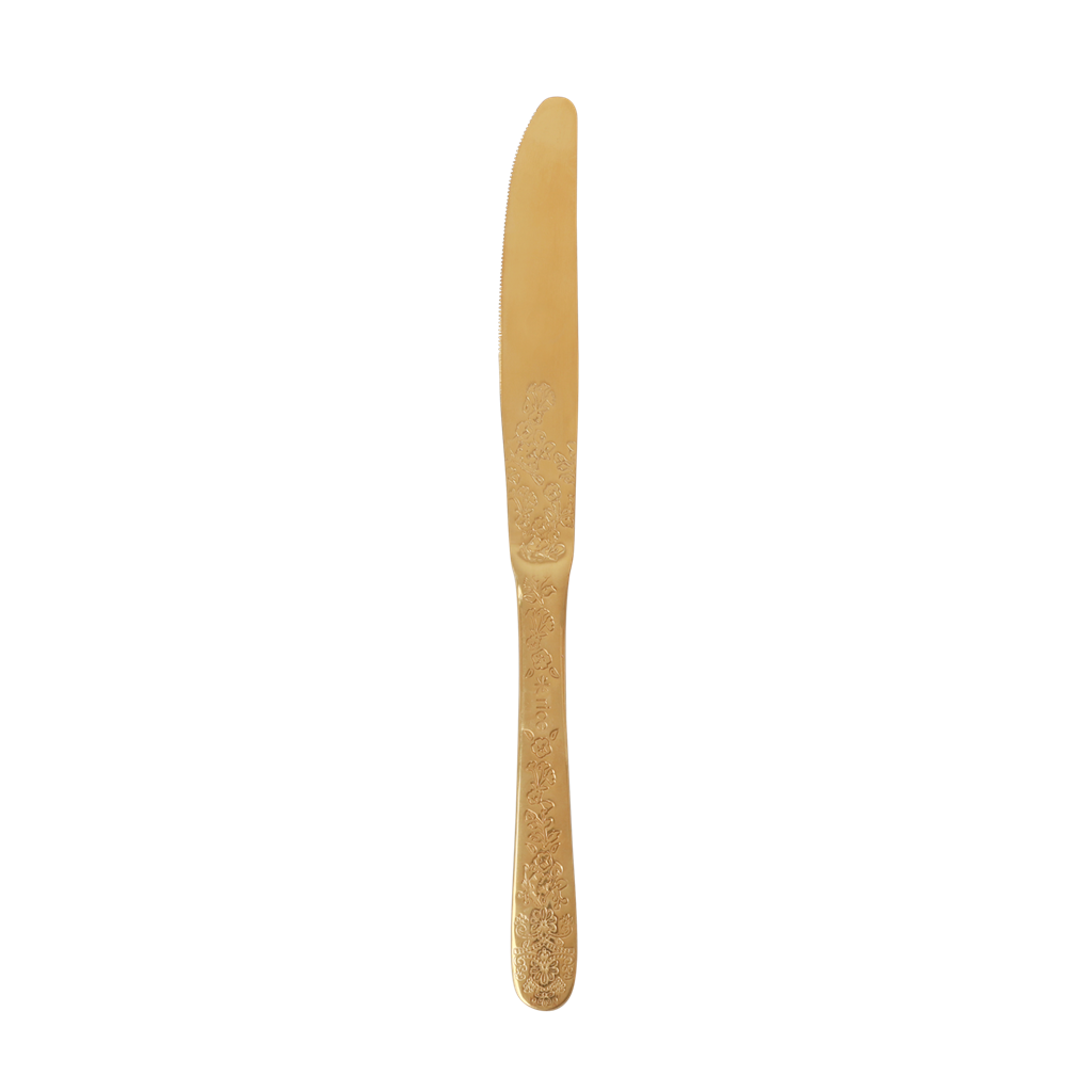 Stainless Knife with Embossed Flower Details in Gold - Rice By Rice