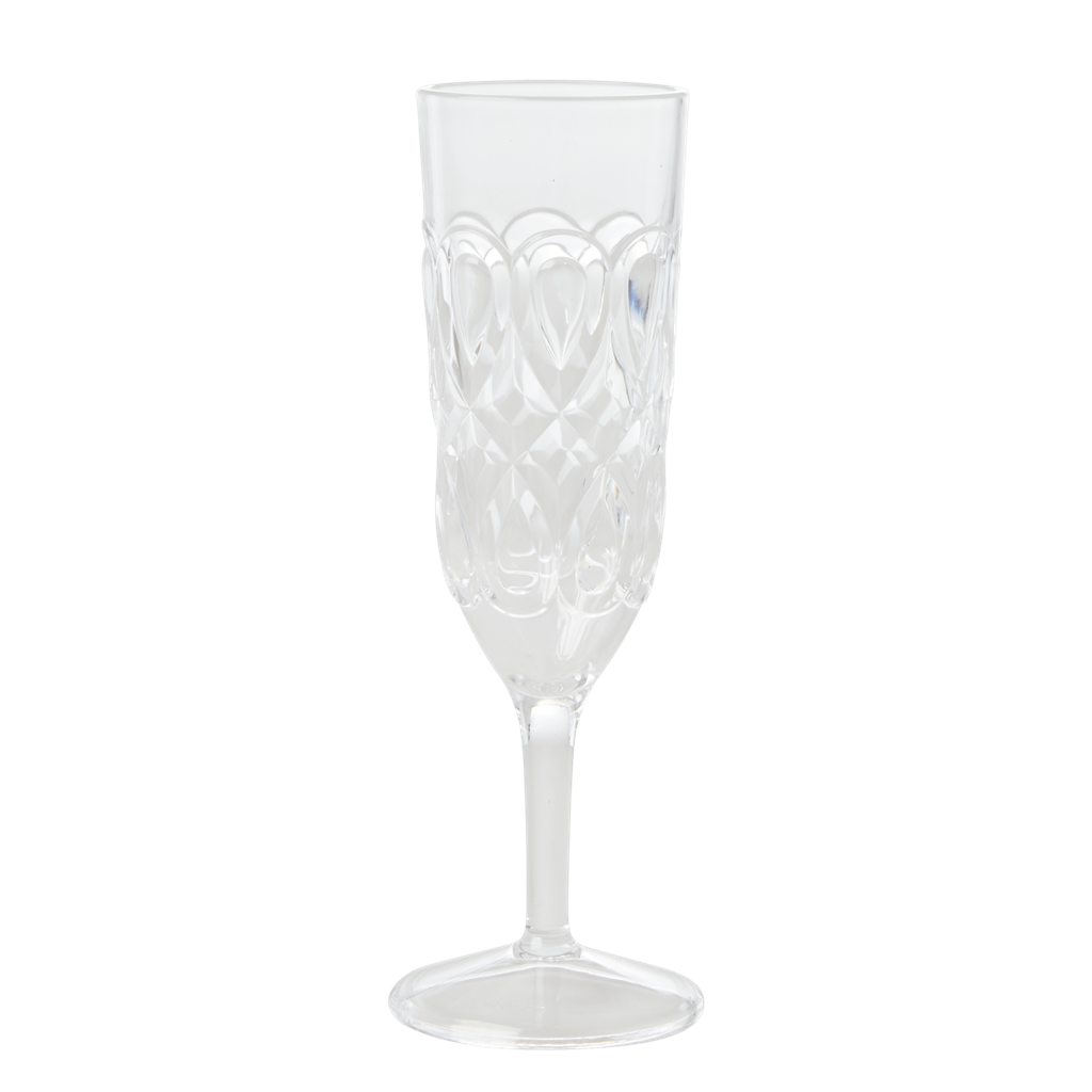 Acrylic Champagne Glass with Swirly Embossed Detail Detail - Clear - Rice By Rice