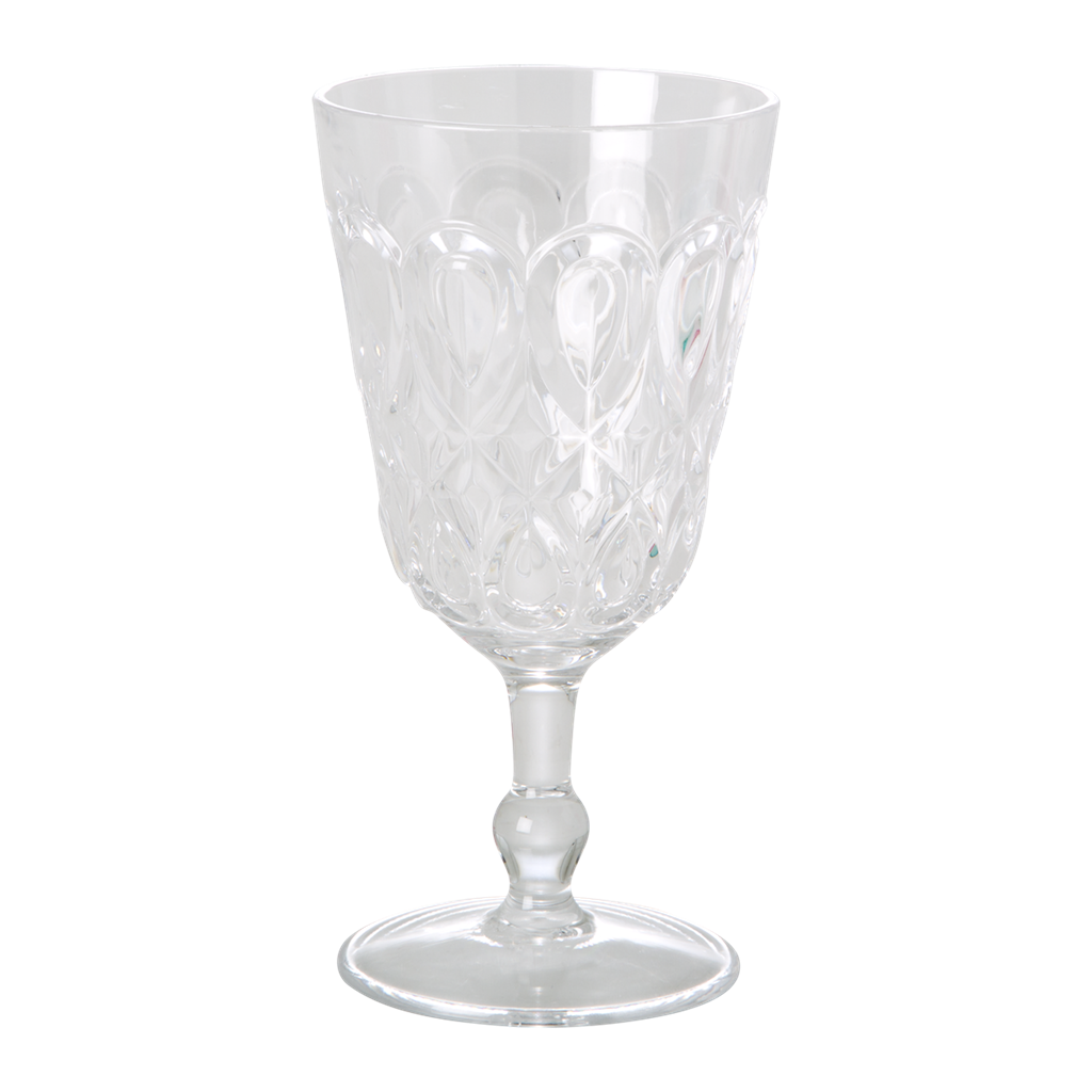 Acrylic Wine Glass with Swirly Embossed Detail - Clear
