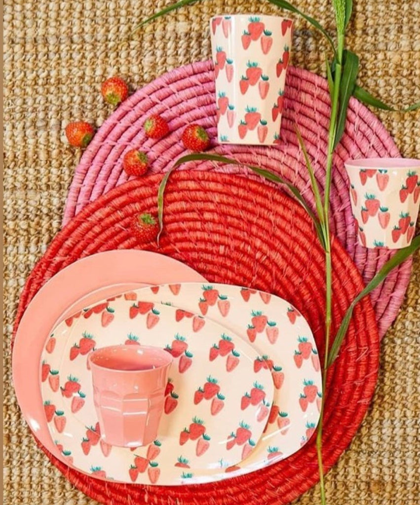Melamine Bowl with Strawberry Print - Two Tone - Medium