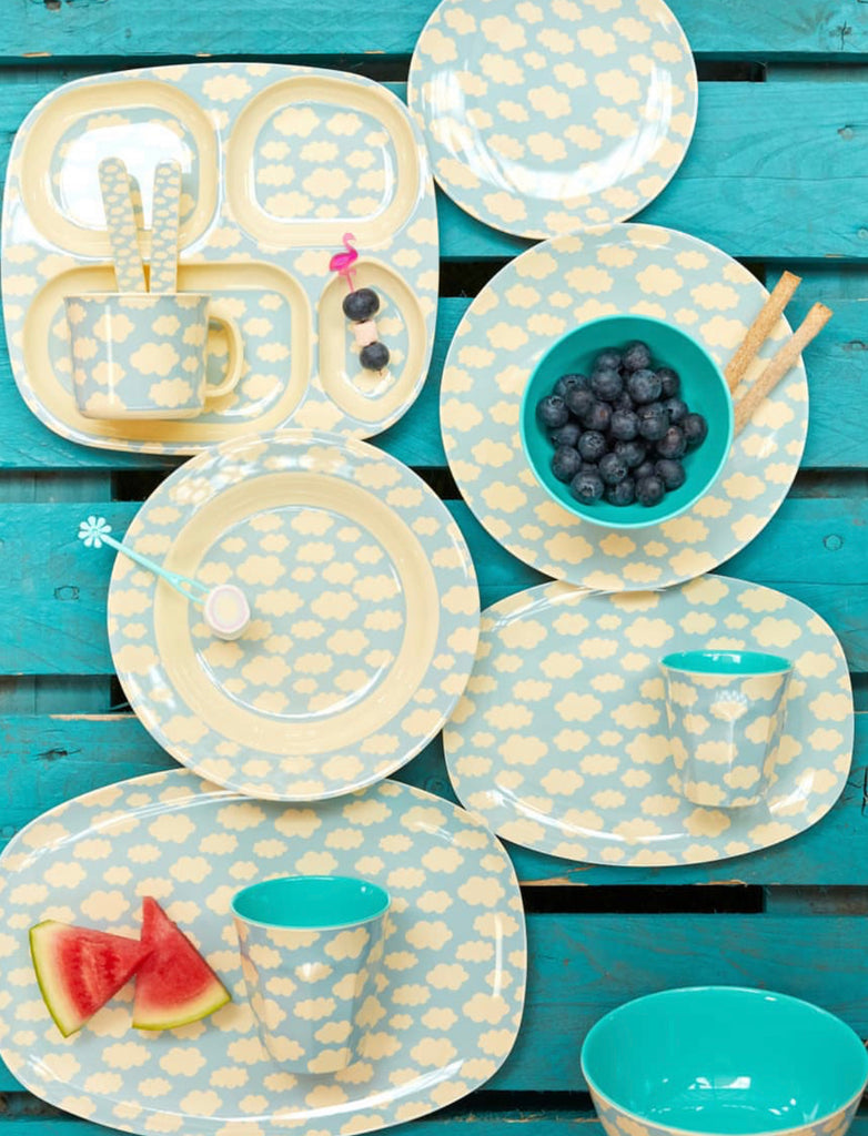 Melamine Kids Lunch Plate | Cloud Print - Rice By Rice