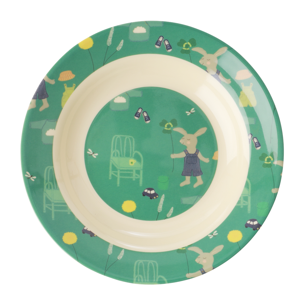 Melamine Kids Bowl with Green Bunny Print - Rice By Rice