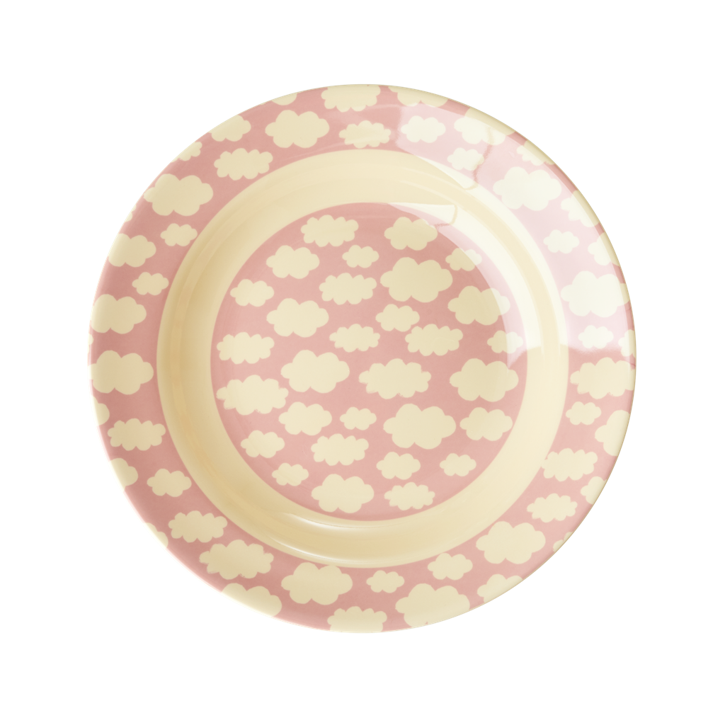 Melamine Kids Bowl with Cloud Print <br> Pink