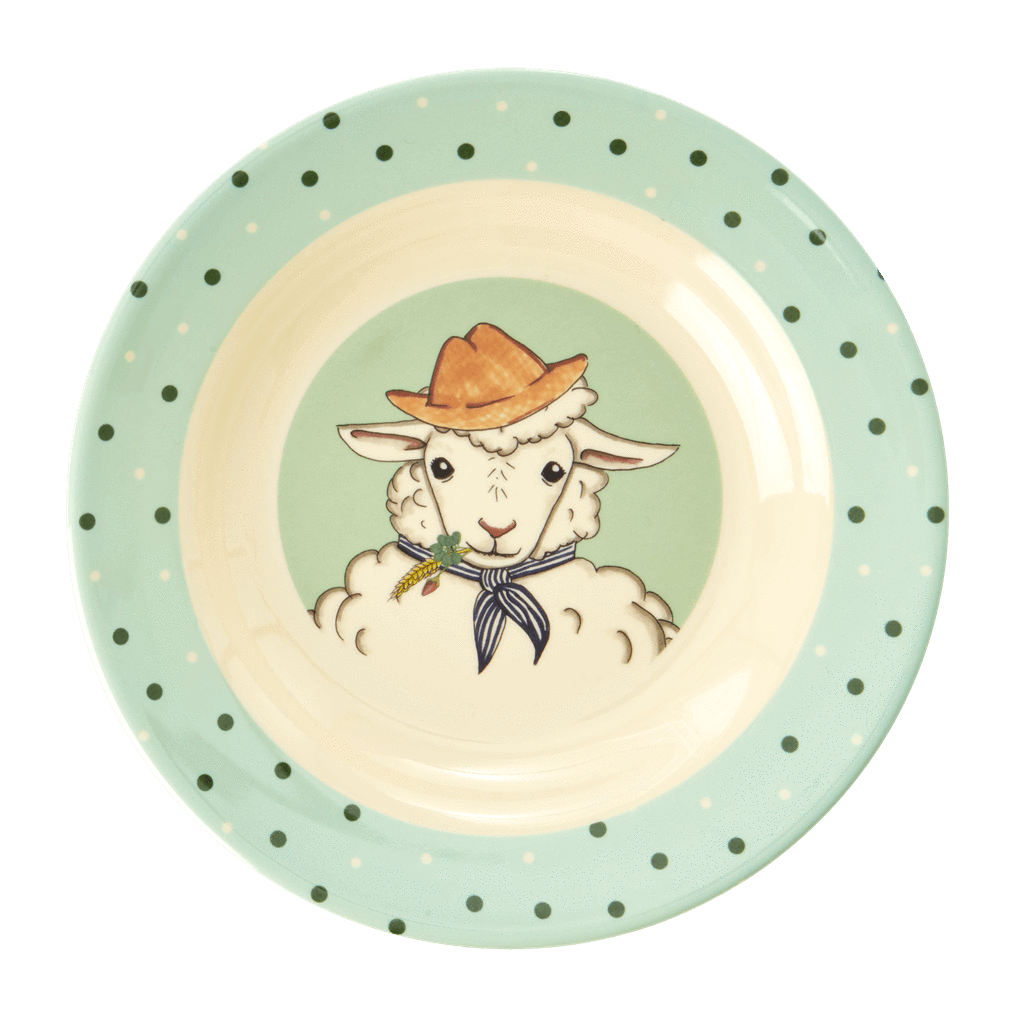 Melamine Kids Bowl with Farm Animals Print - Rice By Rice
