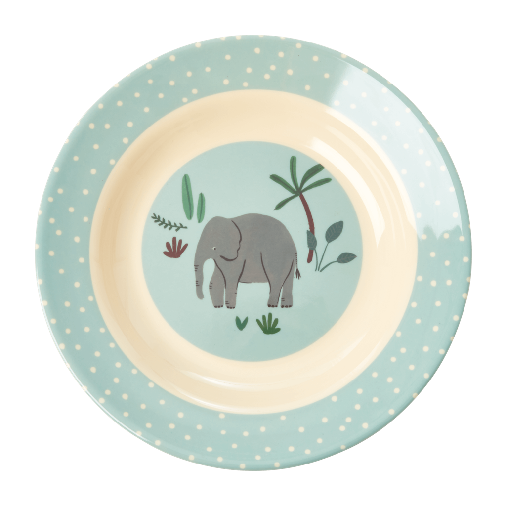 Melamine Kids Bowl with Blue Jungle Animals Print