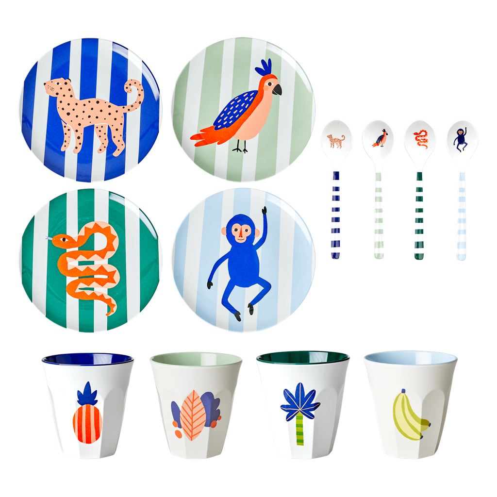 Melamine Kids Dinner Set in Gift Box - Tropic Jungle - Rice By Rice
