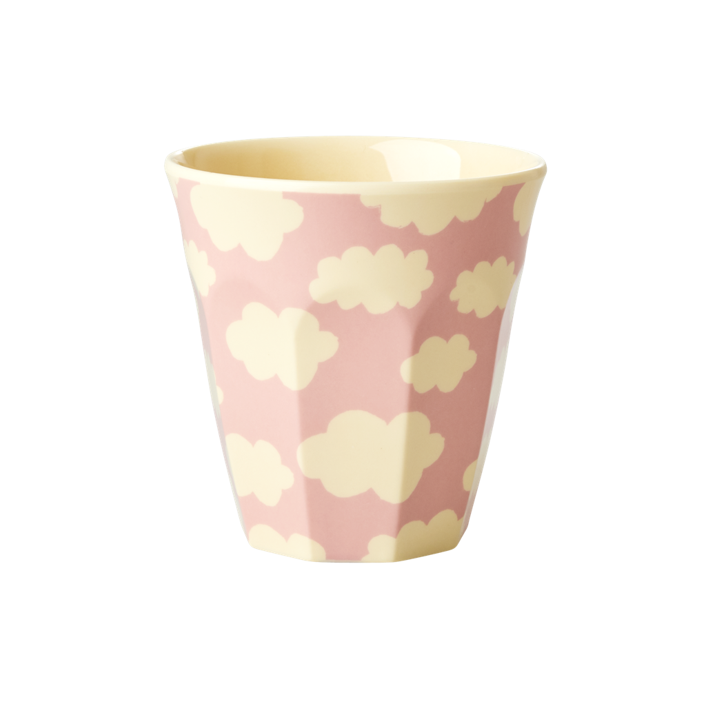 Small Melamine Kids Cup with Cloud Print <br> Pink <br>