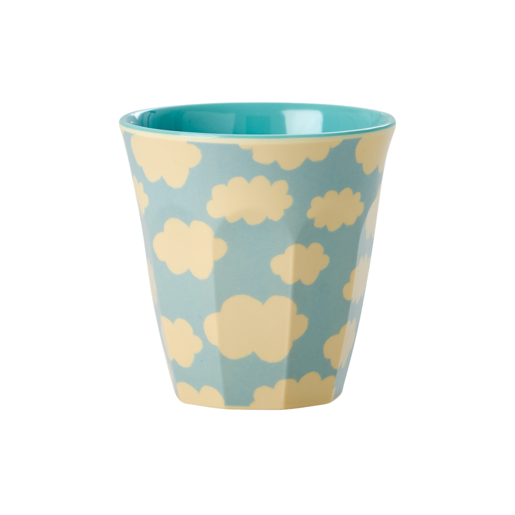 Small Melamine Kids Cup with Cloud Print <br> Two Tone <br>