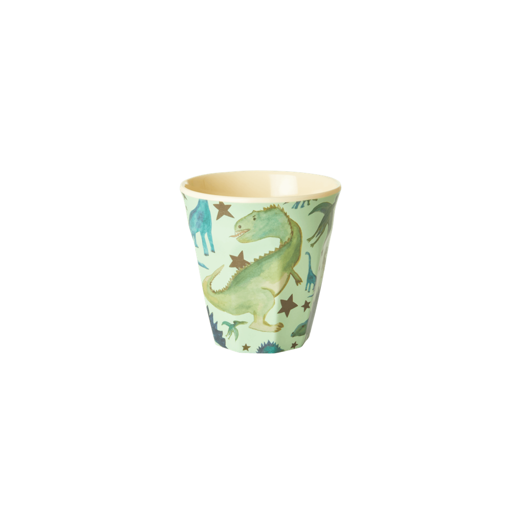 Melamine Kids Cup - Small in Dinosaurs Print in Green - Rice By Rice