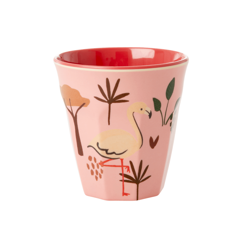 Melamine Kids Cup with Jungle Animals Print in Pink - Small - Rice By Rice