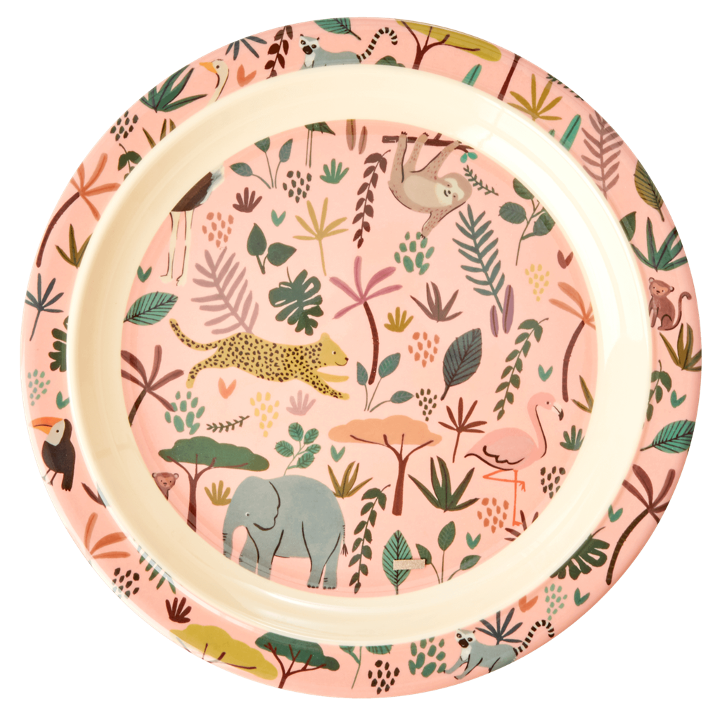 Melamine Kids Lunch Plate in Pink with All Over Jungle Animals Print