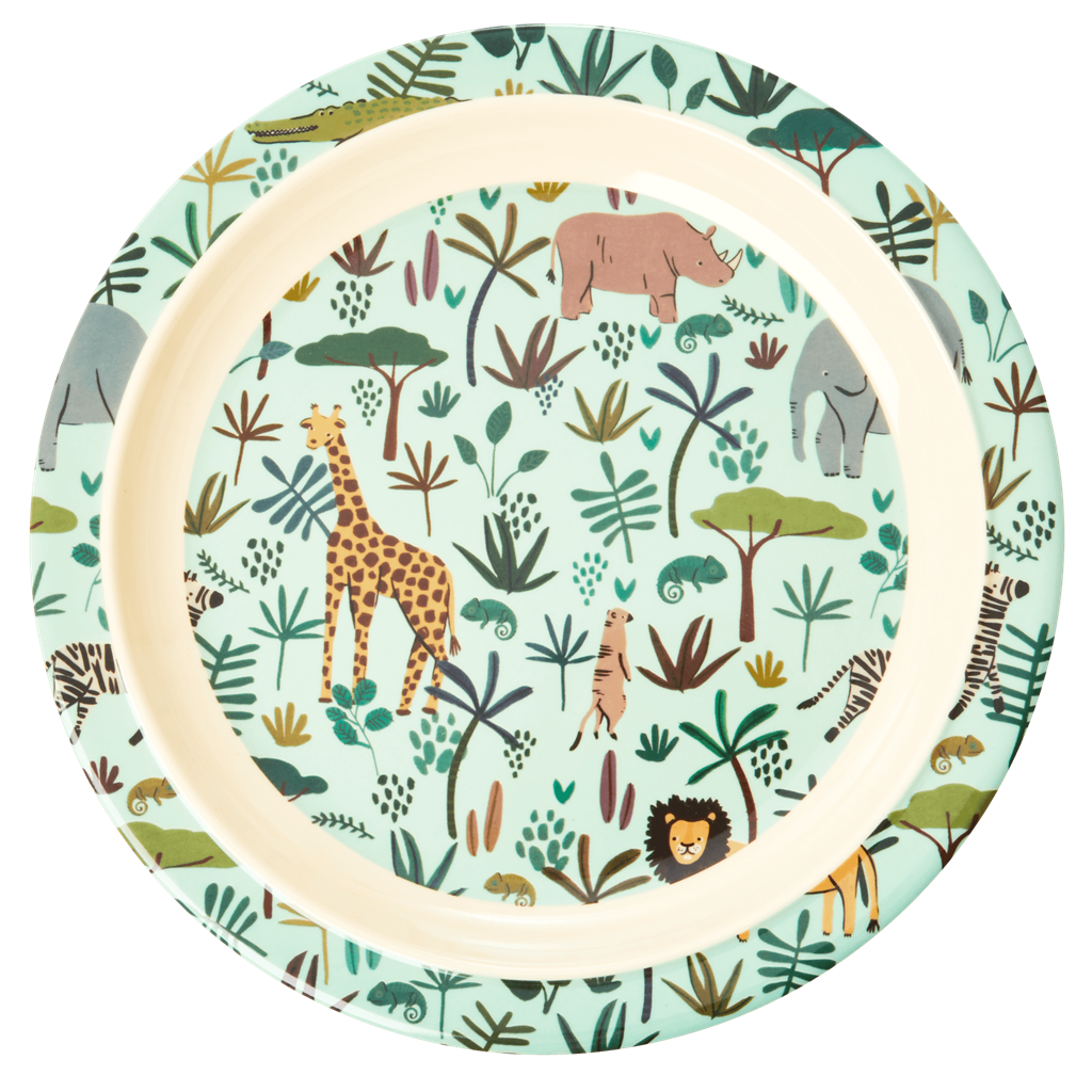 Melamine Kids Lunch Plate in Blue with All Over Jungle Animals Print - Rice By Rice