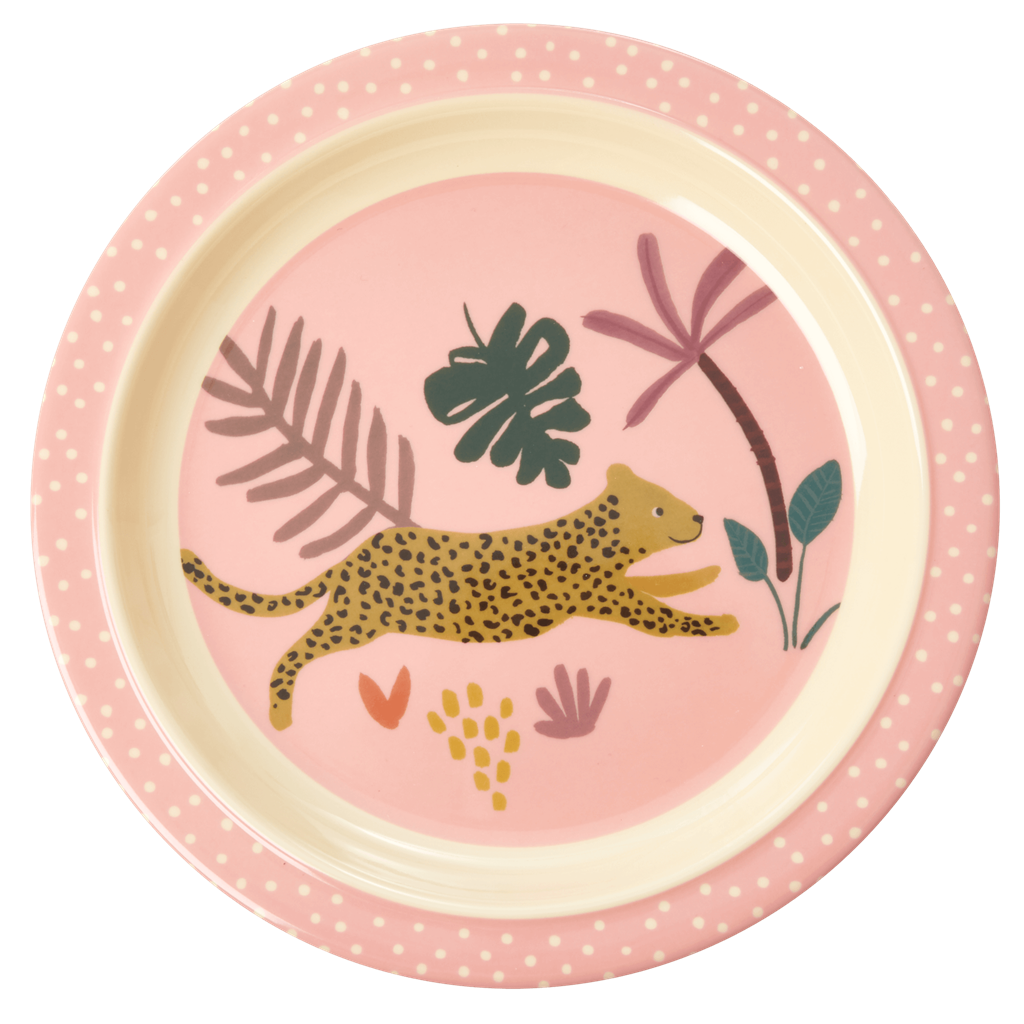 Melamine Kids Lunch Plate with Pink Jungle Animals Print - Rice By Rice