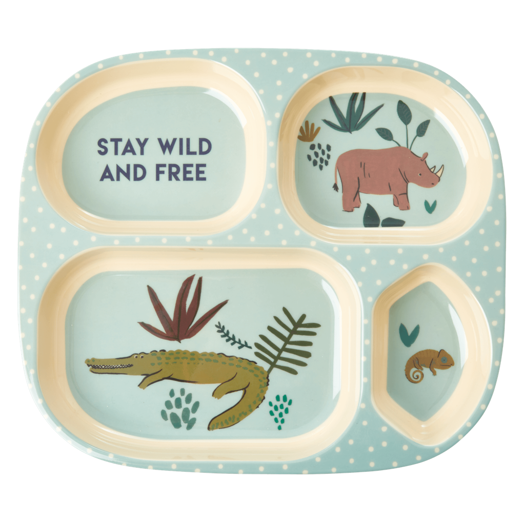 Melamine Kids 4 Room Plate with Blue Jungle Animals Print