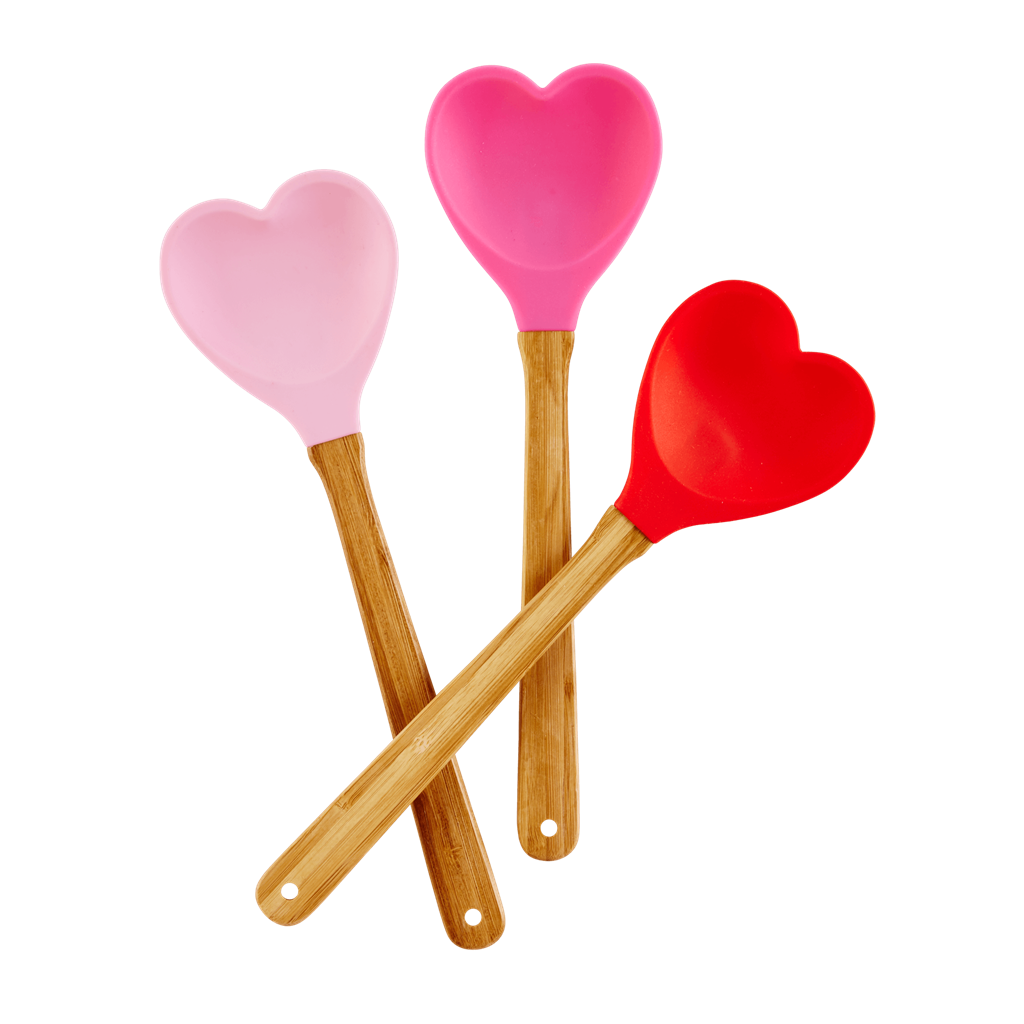 Kitchen Silicon Spoon in Heart shape | Dark Pink - Rice By Rice