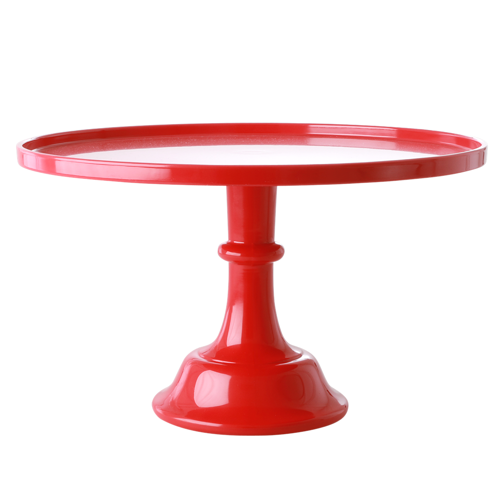Melamine Cake Stand with Stem in Berry Red Color - Rice By Rice