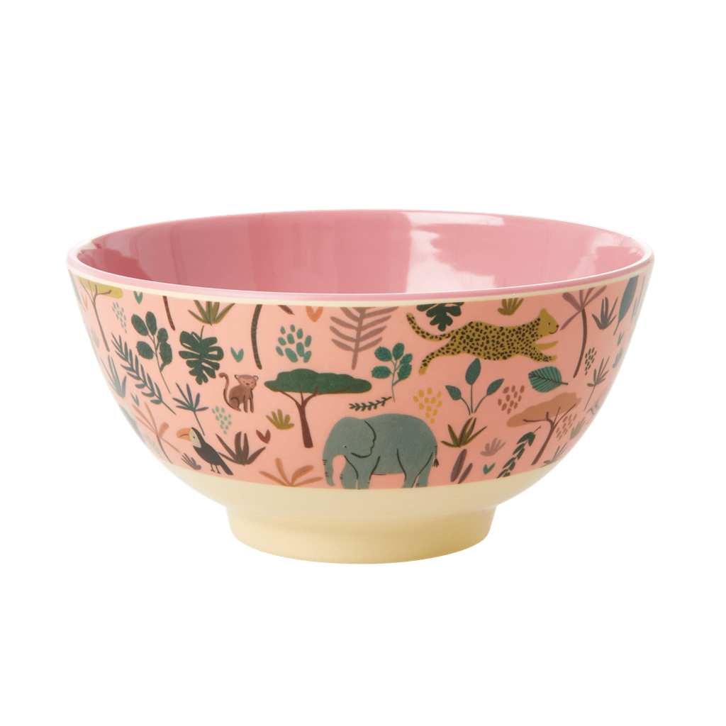 Melamine bowl with All Over Jungle Animals Print - Two tone - Coral - Medium - Rice By Rice