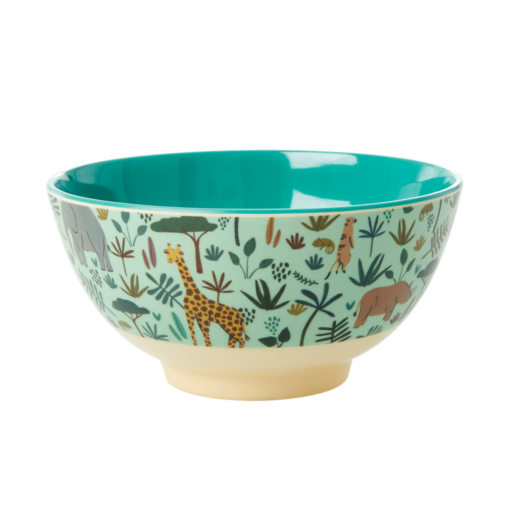 Melamine bowl with All Over Jungle Animals Print - Two tone - Green - Medium - Rice By Rice